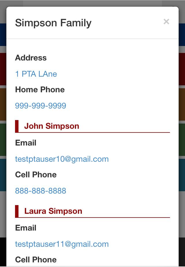 School Directory App Parent Details Page